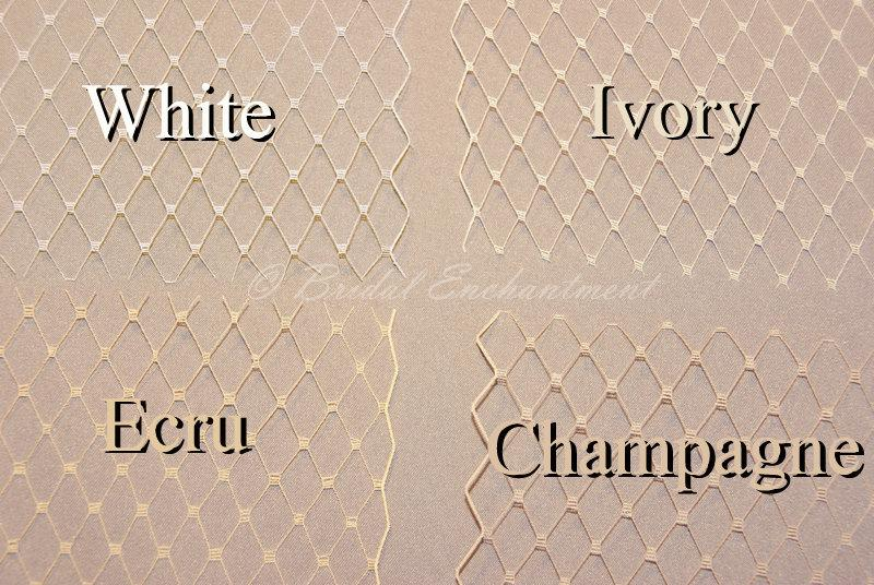 Birdcage Veil Fabric Sample French Netting Color Swatch White Ivory Champagne
