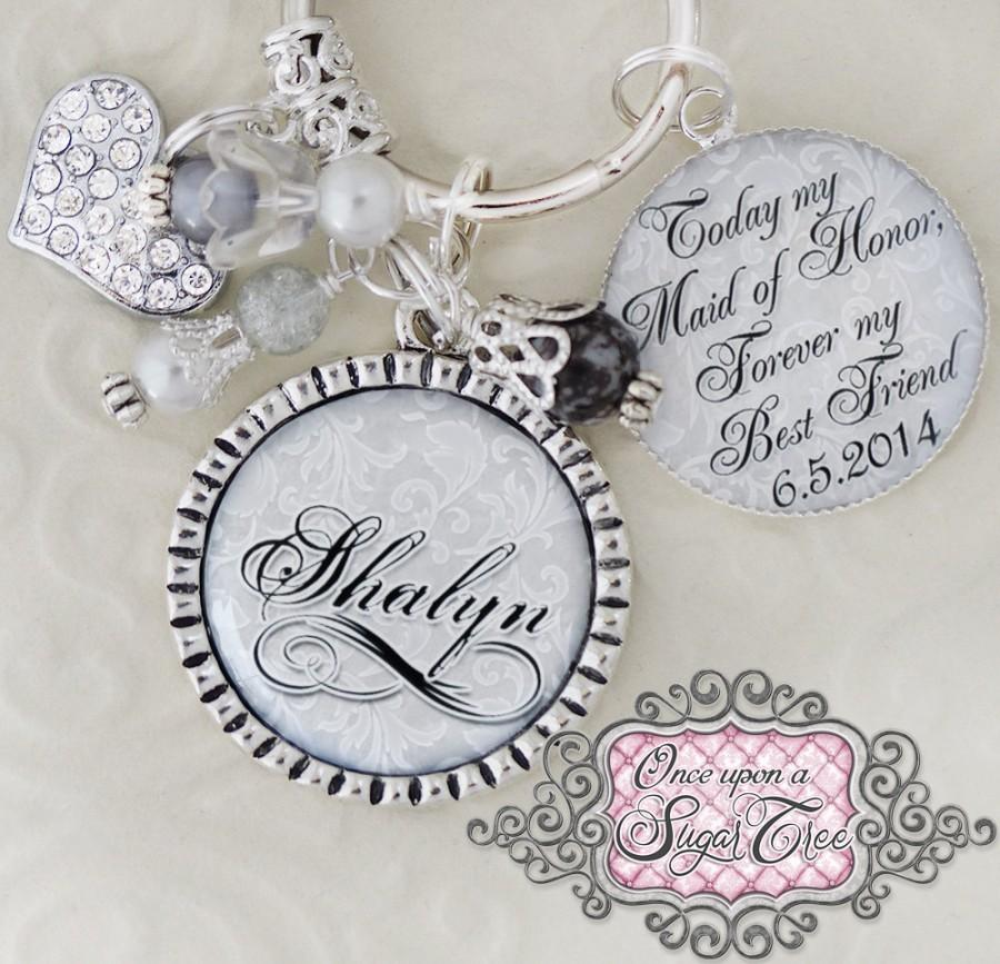 Maid Of Honor Gift Wedding Key Chain Or Necklace Inspirational Quote Best Friend Sister Matron Heart Charm