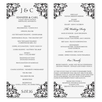 Wedding Program Template Instantly Edit Your Wording Nadine Black Tea Length Microsoft Word Format