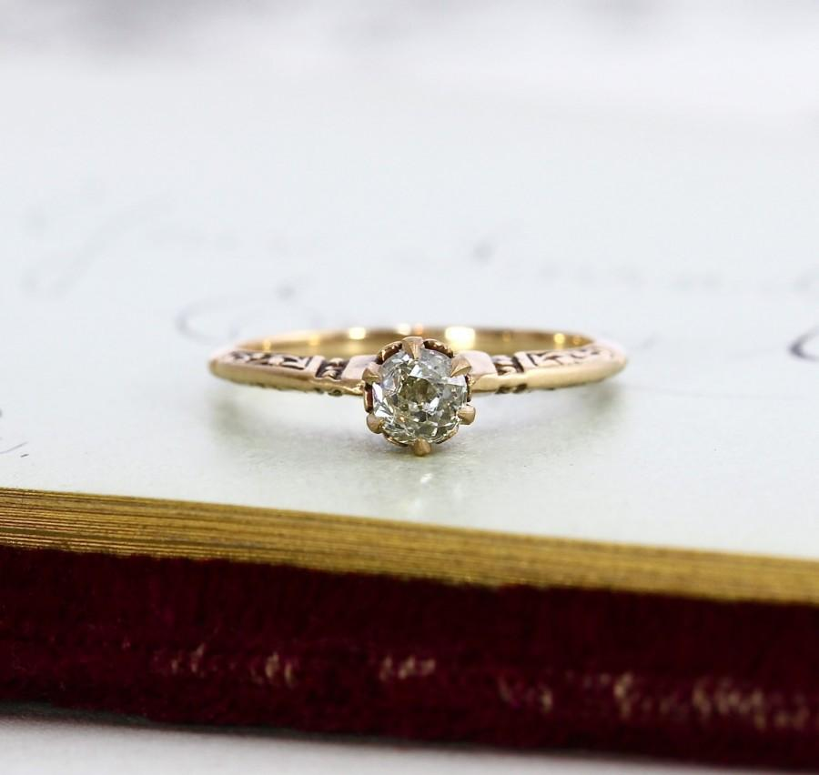 Antique Diamond Engagement Ring Victorian 14k Yellow Gold Engraved Cathedral Style Old Mine Cut Omc Stacking Statement