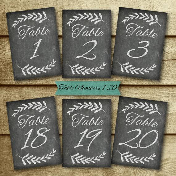 Chalkboard Wedding Table Number Set Signs Diy Printable Decor Chloe Collection Instant