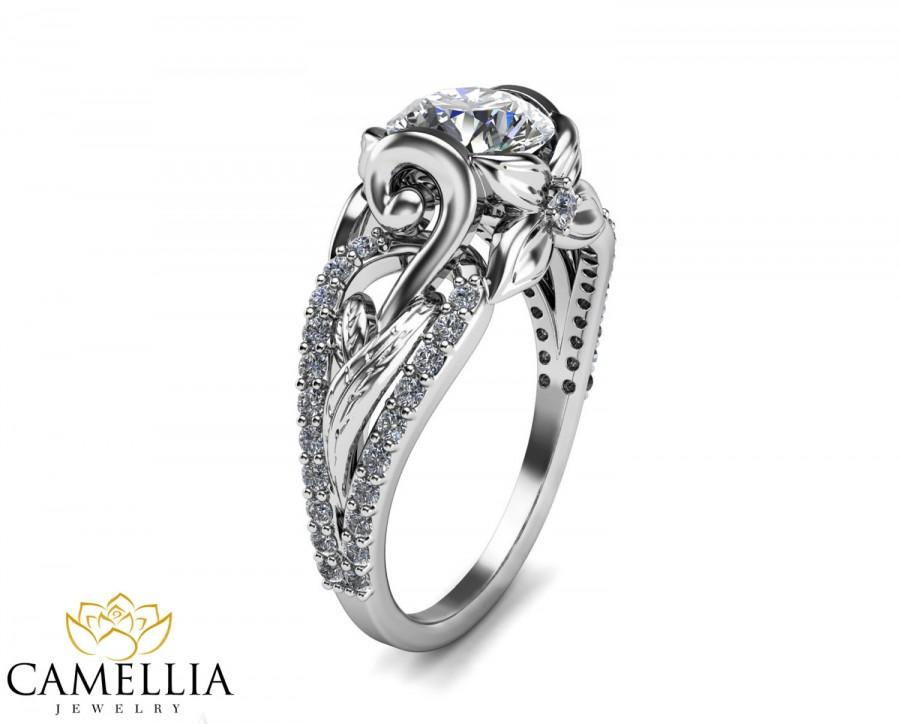 14k White Gold Diamond Engagement Ring Leaf Unique Christmas Gifts For Women