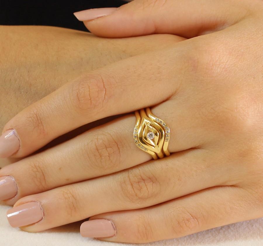 enement wedding set diamond ring yellow gold - Gold Wedding Rings For Women
