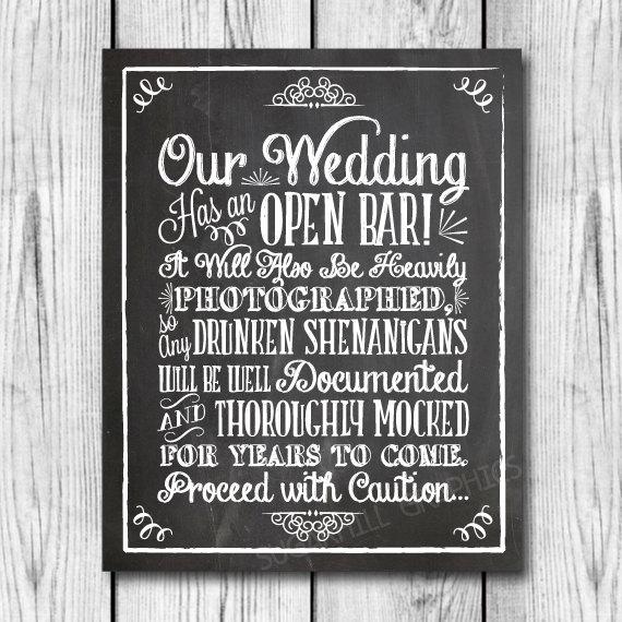 Chalkboard Shenanigans Wedding Sign Printable Open Bar Decor Instant