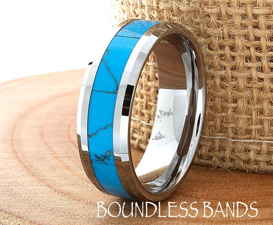 Turquoise Wedding Band Flat High Polished Beveled Customized Tungsten Any Design Laser Engraved Ring Mens Modern New 8mm