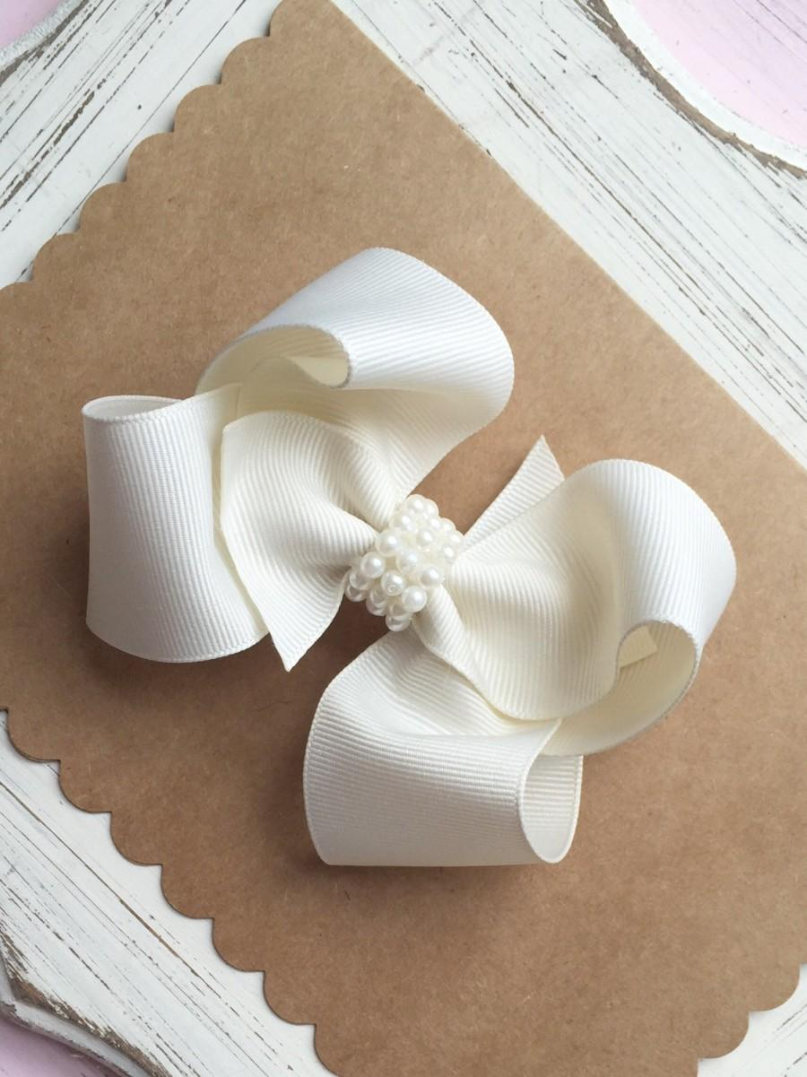 flower girl bow, boutique hair bow, white/ivory hair bow, flower