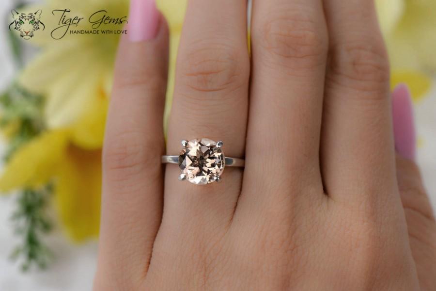 4 Carat Round Solitaire Ring G Man Made Peach Morganite Simulant Engagement Wedding Bridal Sterling Silver