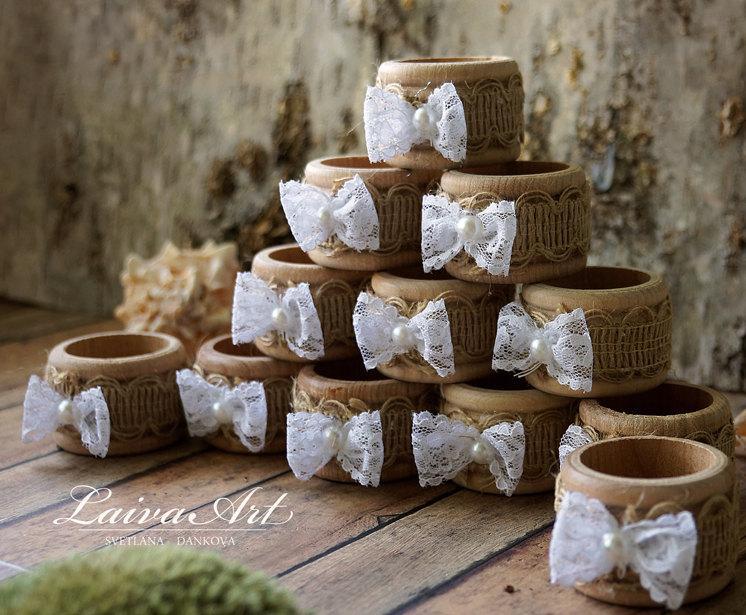 Burlap Wedding Napkin Rings Table Décor Rustic Holders Wooden
