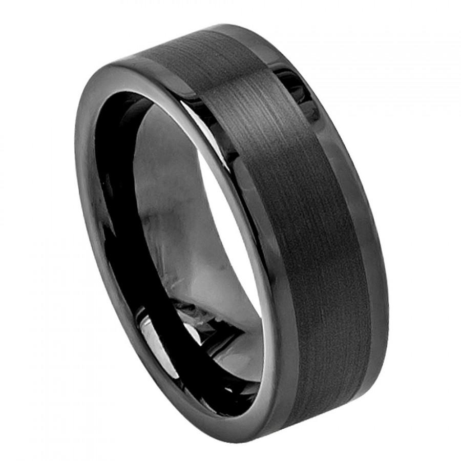Tungsten Wedding Band Men S Rings Mens Ring Black Jewelry Bands Trendy