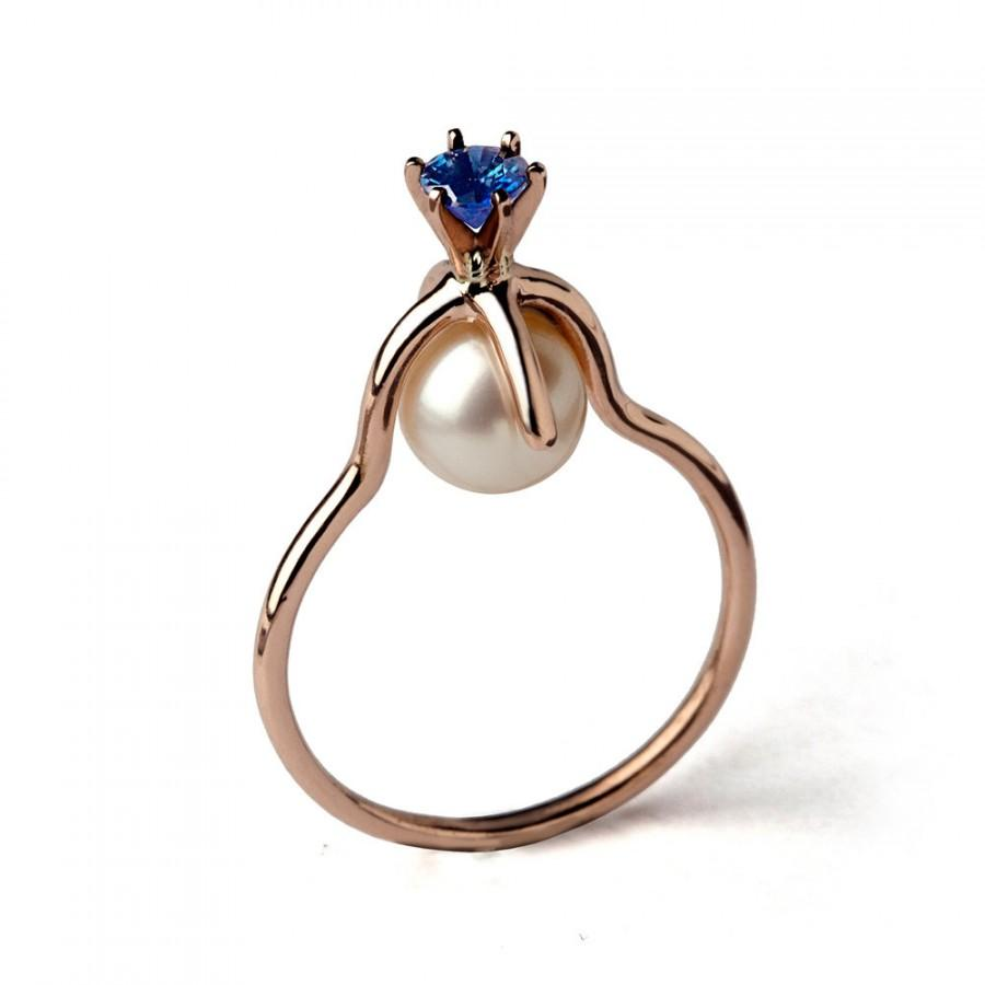 Fabulous CROWN Rose Gold Blue Sapphire Engagement Ring, Pearl Engagement  TT75