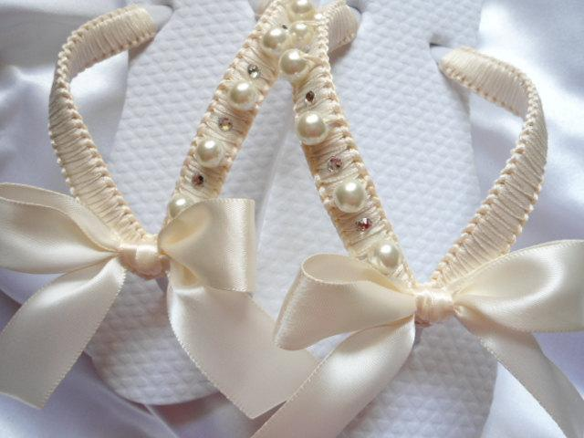 Flower Ivory Shoes Decorated Flip Flops For S Bride Beach Wedding Bridal