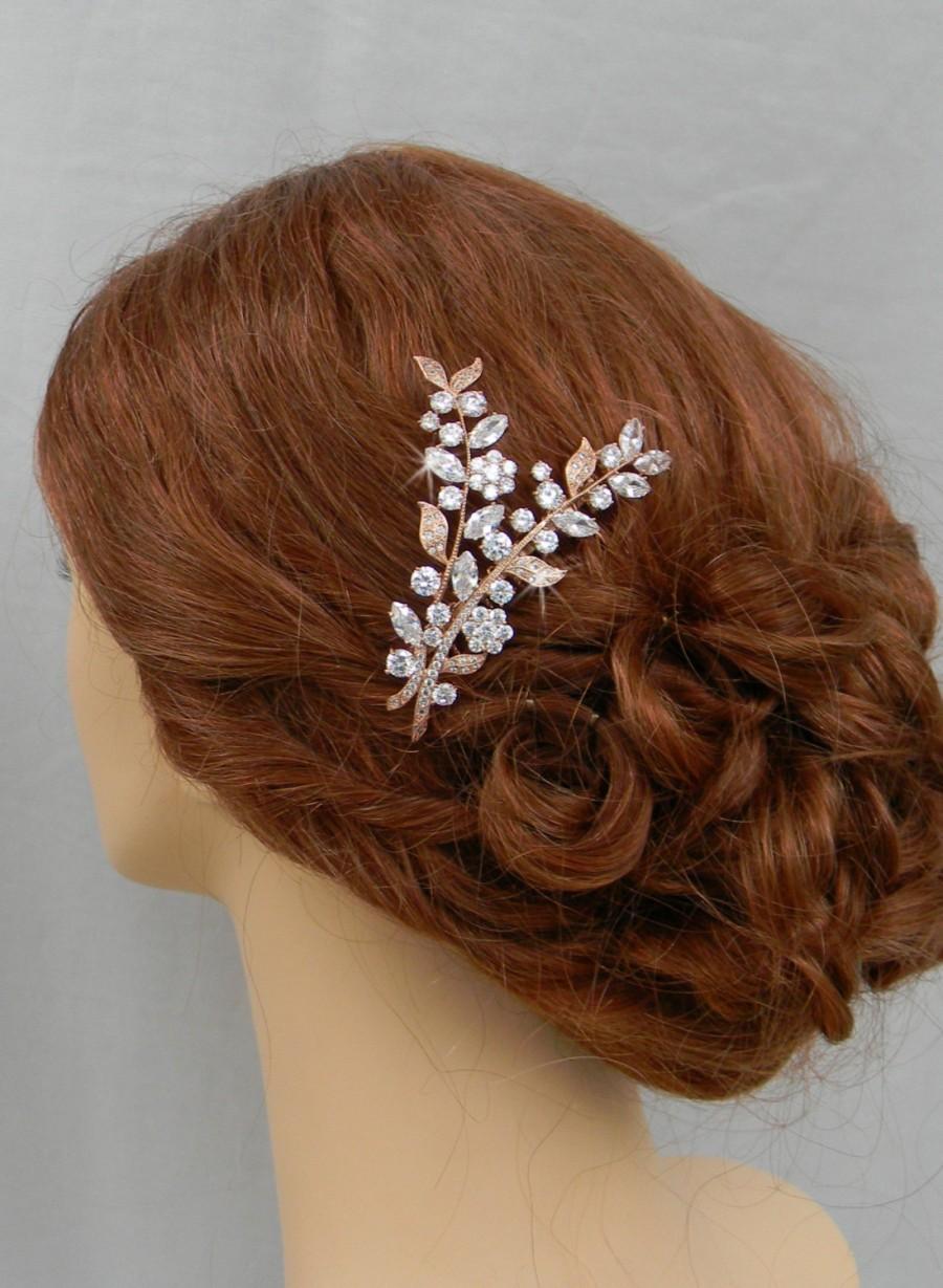 rose gold hair comb, bridal headpiece, leaf wedding comb, silver