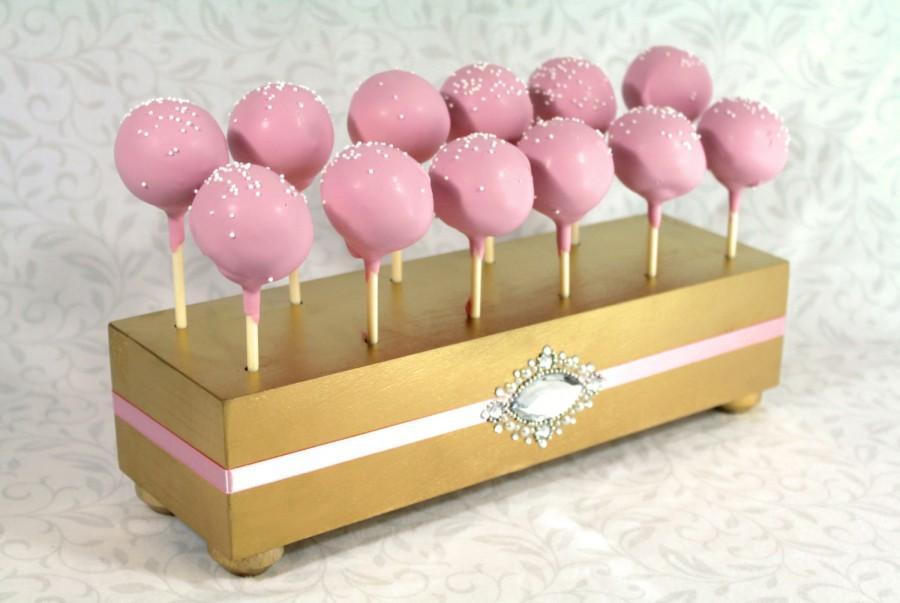 Gold Cake Pop Stand Wedding Holder Pink Decor Display Pops Lollipop