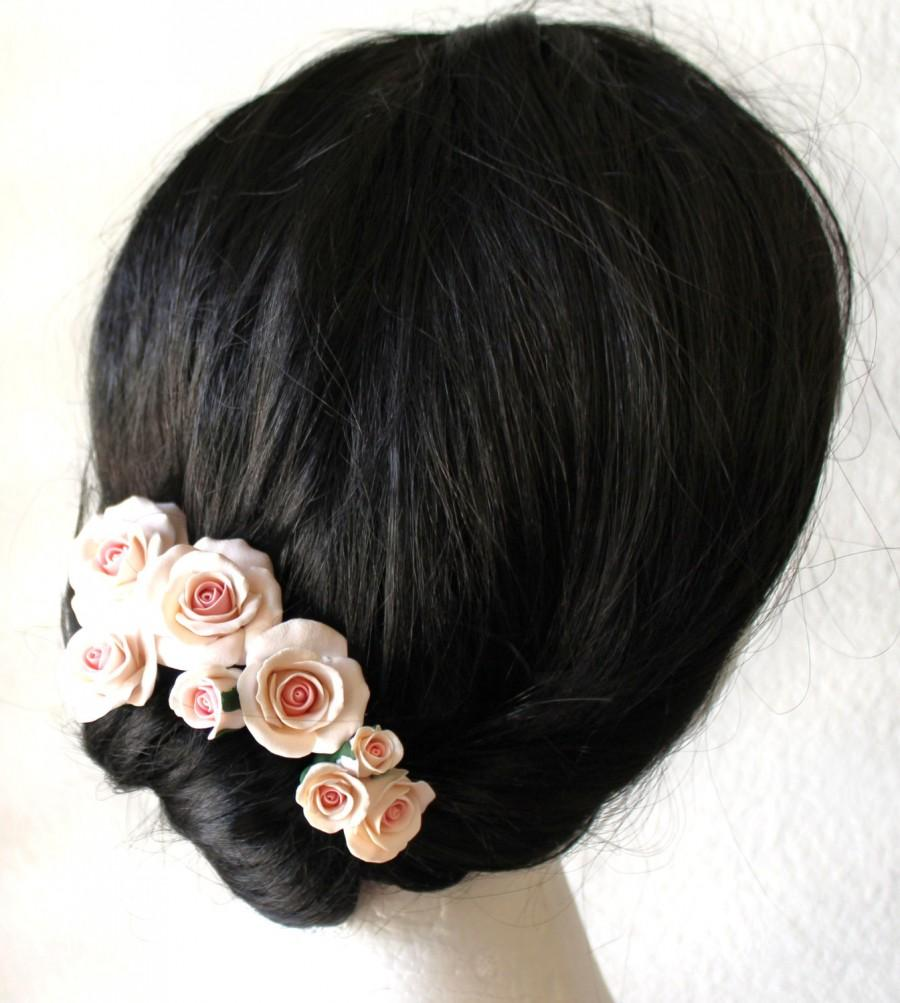 white with pale pink roses set, wedding hair accessories, wedding