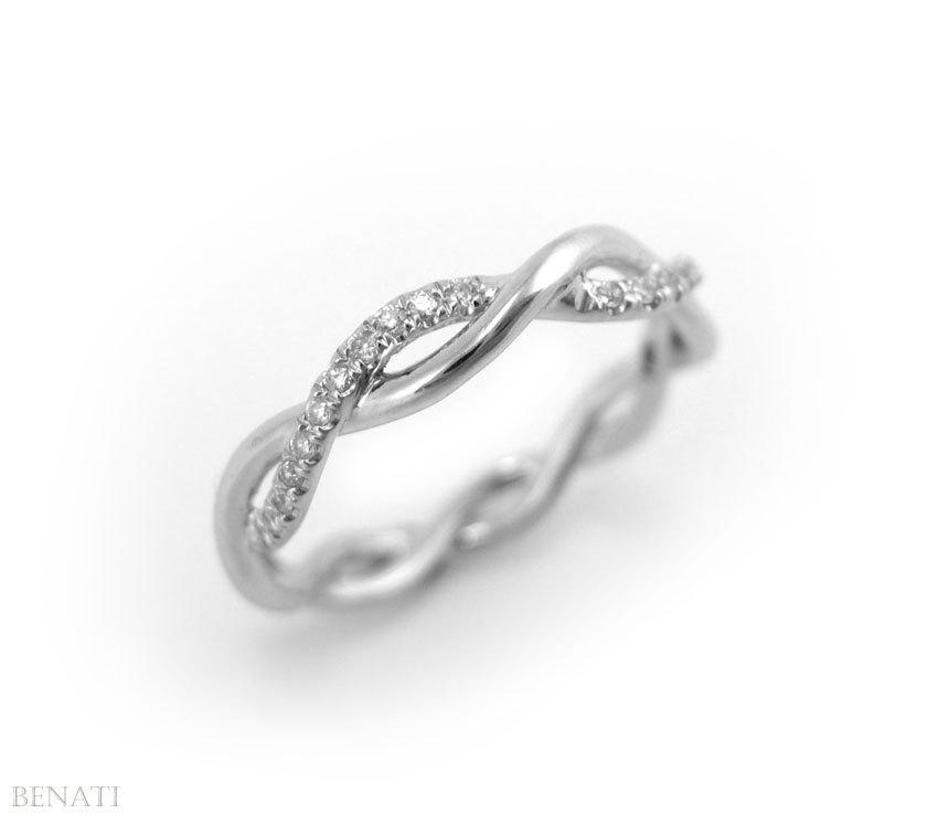 Diamond Infinity Knot Wedding Ring Braided Rope