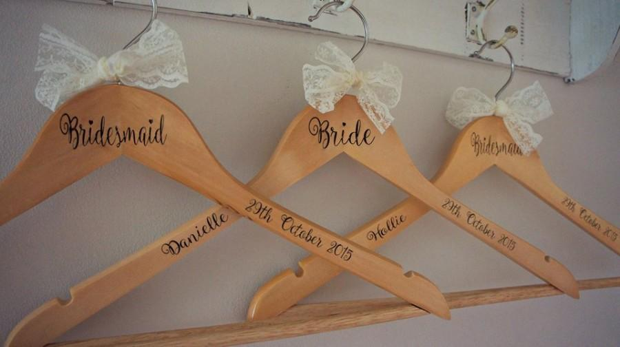 Personalised Wooden Engraved Wedding Dress Hangers Personalized Hanger