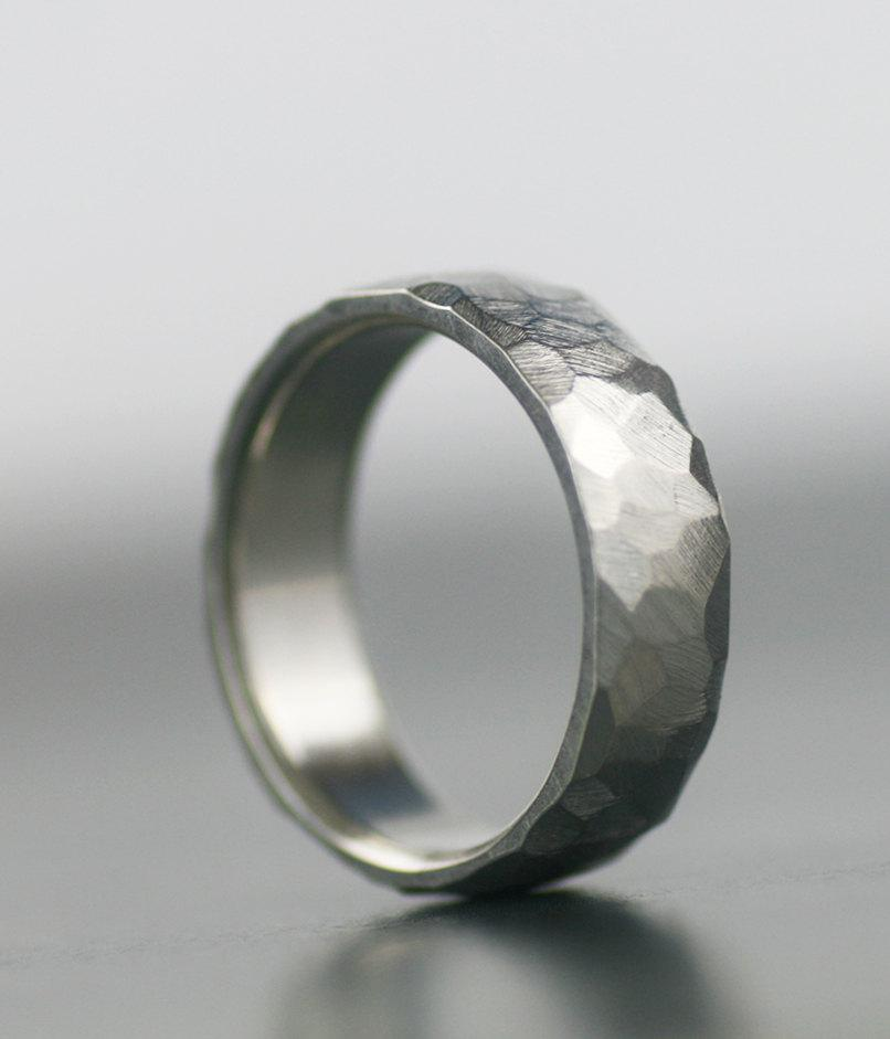 Men S Wedding Band 950 Palladium 14k White Gold Platinum Or Sterling Silver Unique Hand Faceted Ring For Him Her