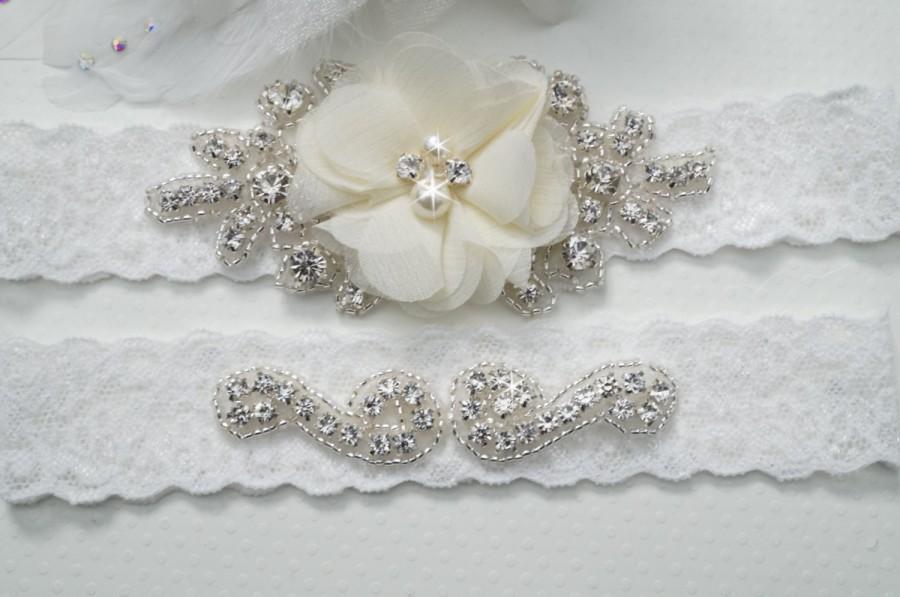 Wedding Garter Belt Bridal Set Rustic Keepsake Toss Ivory