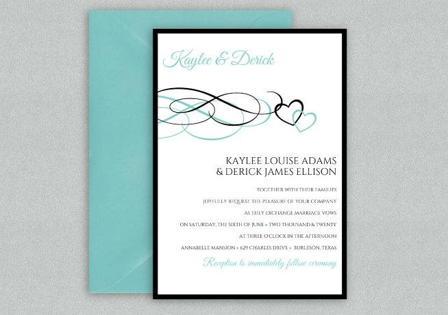 Diy Wedding Invitation Template Instant Editable Text Beloved Black Light Turquoise Microsoft Word Format