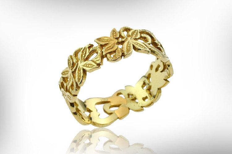 Art Nouveau Wedding Band Vintage Ring 14k Gold Bridal Antique Engagement Free Shipping