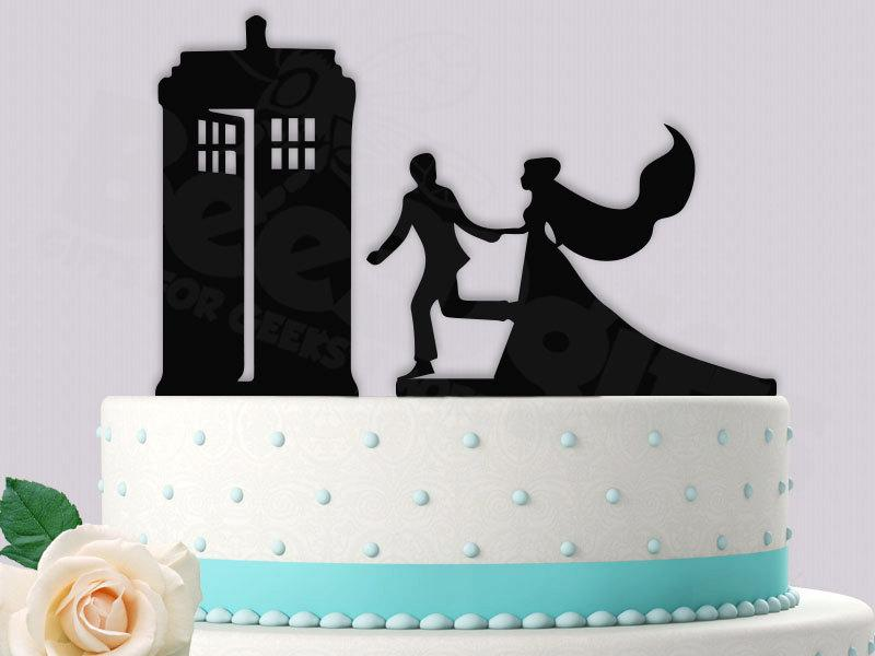 Dr Who Inspired Rush To The Tardis Cake Topper