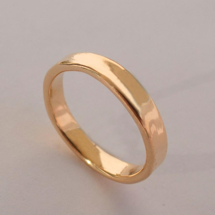 Simple Gold Wedding Band 14k Rose Ring Uni Men S Mens