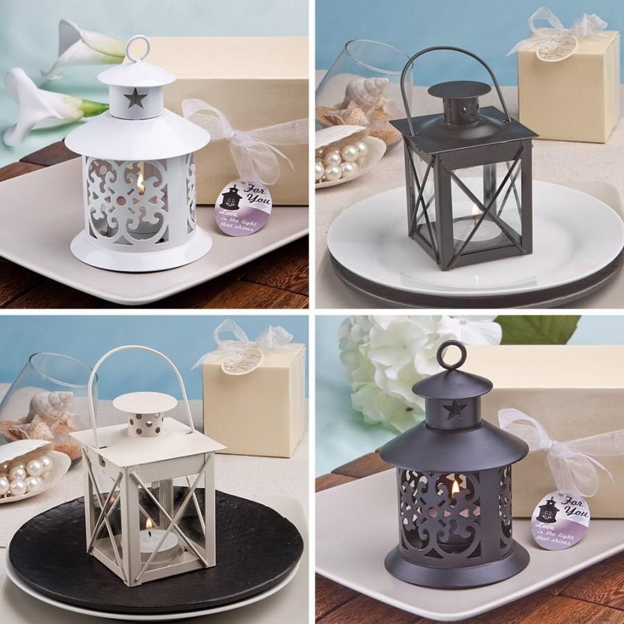 Rustic Wedding Favors 12 Lantern Candle Holders Candles Country Burlap