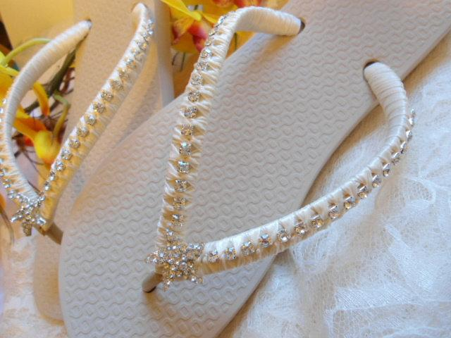 Ivory Bridal Flip Flops Beach Wedding Shoes Starfish Sandals