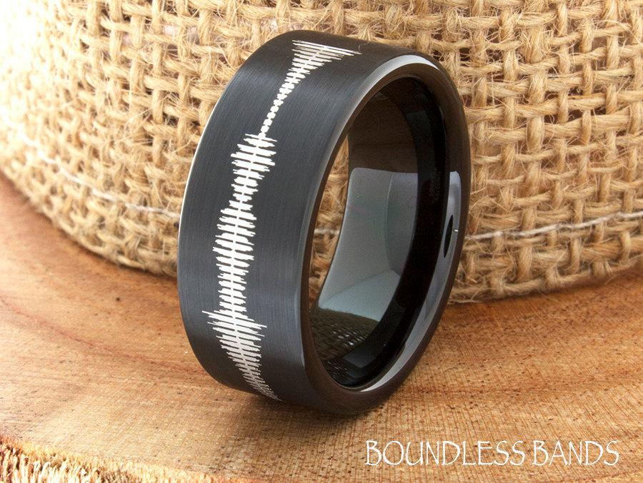 Sound Wave Tungsten Wedding Band Ring Mens Customized Any Engraved