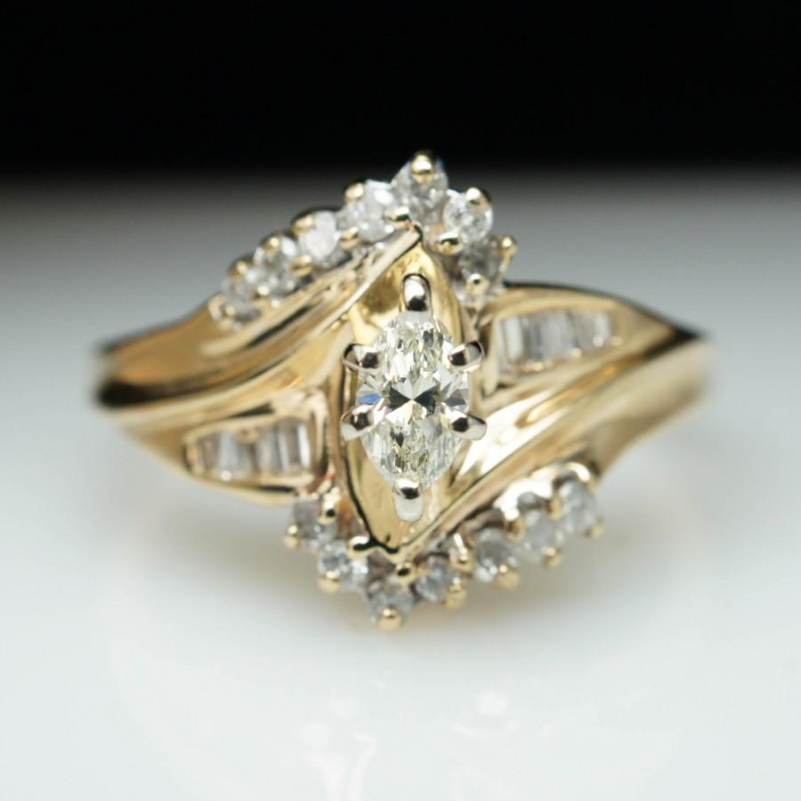 Vintage 40ct Marquise Cut Diamond Engagement Ring 14k Yellow Gold Size 8 Complete Bridal Wedding Set