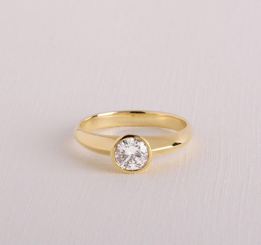 Simple Diamond Ring Engagement Unique Clic Solitaire Bezel Set