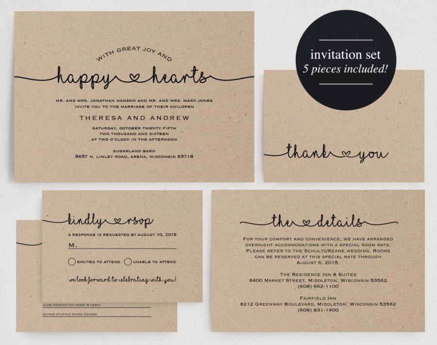Wedding Invitation Printable Kraft Editable Template Diy Pdf Instant