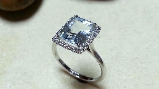 Unique Engagement Ring Rose Gold Aquamarine Diamonds Wedding Set Bridal Promise White