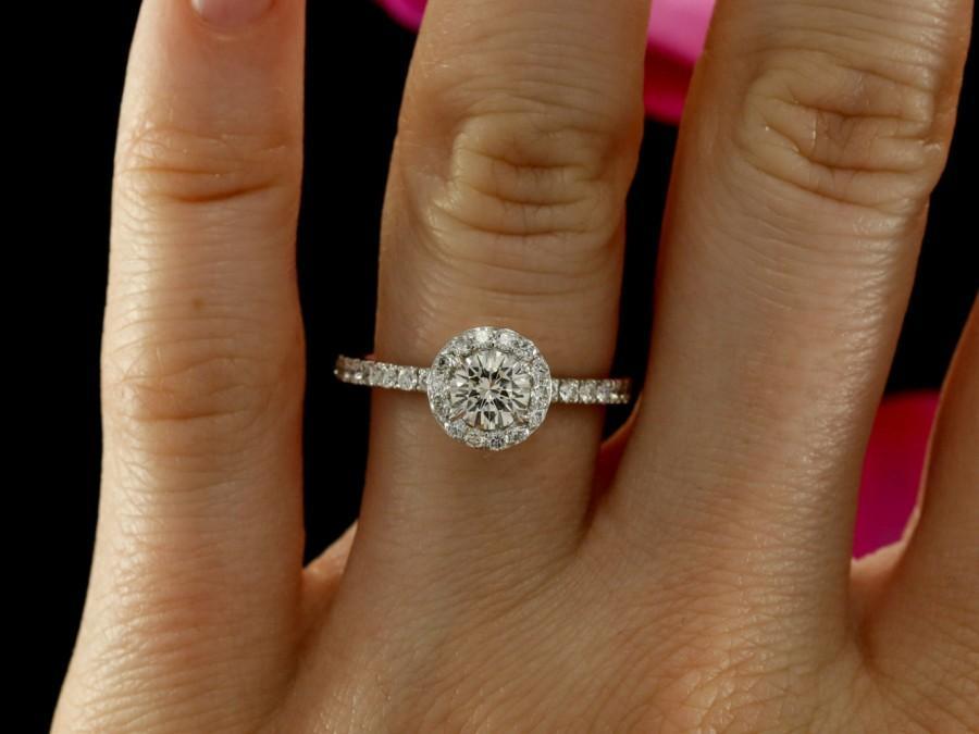 Diamond Halo Engagement Ring In 14K White Gold 5 0mm Diamond Half