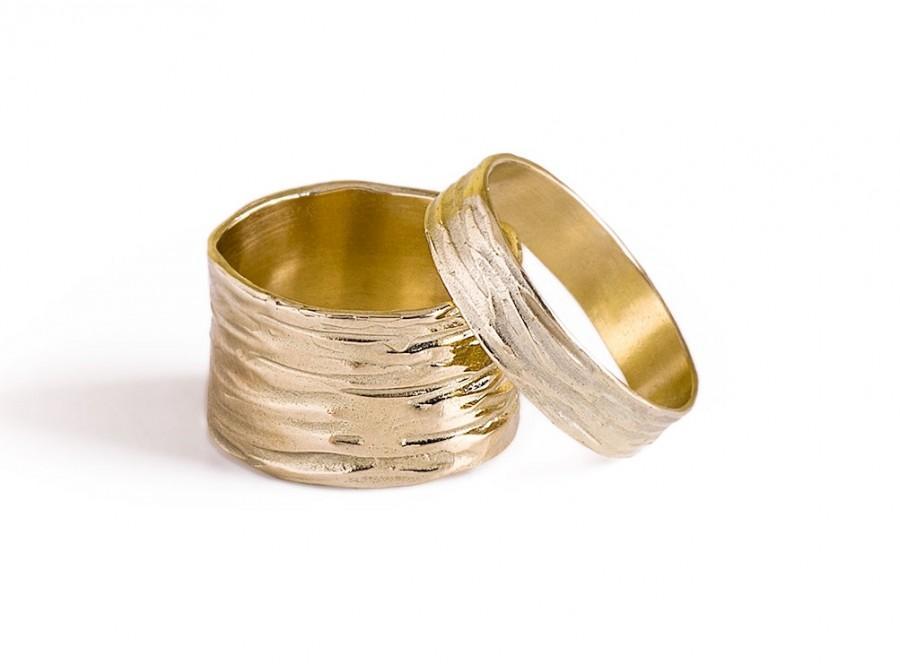 Wedding Band Sets 14k Solid Gold Wide Women Mens