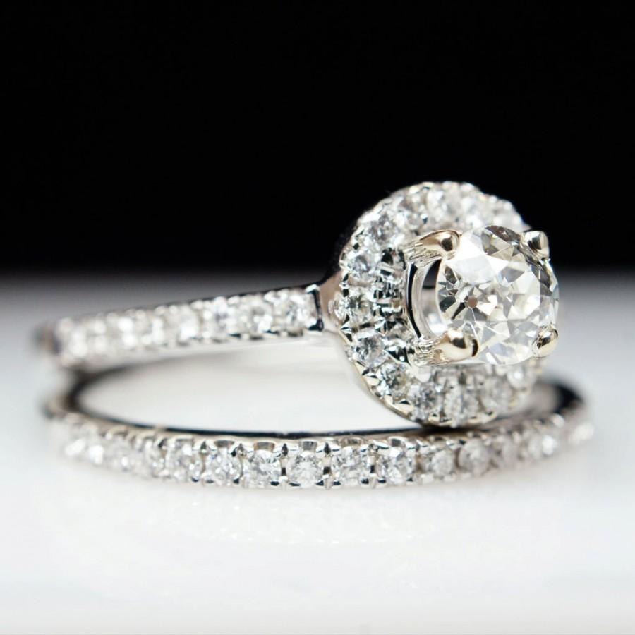 Beautiful 76ct 14k White Gold Round Solitaire Halo Diamond Engagement Ring Wedding Band Set Complete Bridal