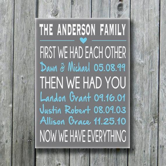 First We Had Each Other Personalized Wedding Gift Anniversary Engagement Important Date Sign Custom Wood Family