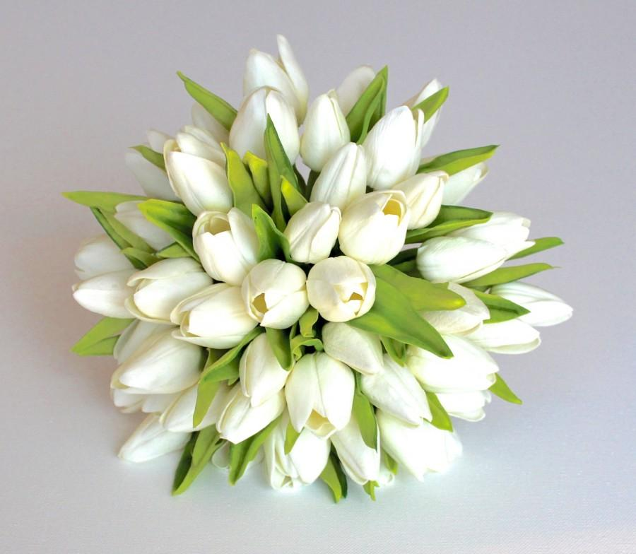 Wedding Bouquet Tulip Bridal Real To Touch Silk Flowers Burlap Lace And Pearl Customize For Your Colors