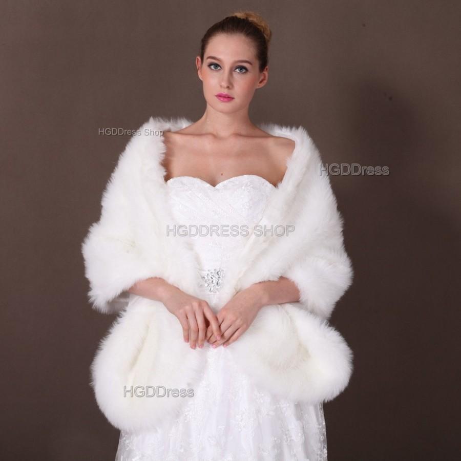 Long Rectangular Faux Fur Shawl Wrap Stole Cape Bridal Ivory Shrug Wedding