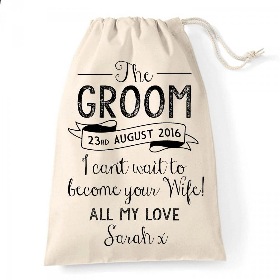 Personalised Vintage Rustic Groom Gift Bag For The Day Great Wedding Your Husband To Be
