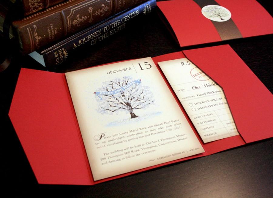 Vintage Book Winter Wedding Invitation Set Snow And Tree Invitations Rustic Red Birds Blue Weddingtree