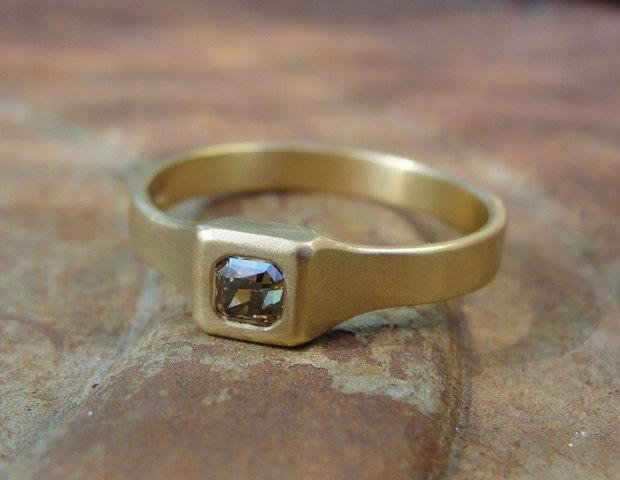 Diamond Engagement Ring Handmade Gold 18k One Of A Kind