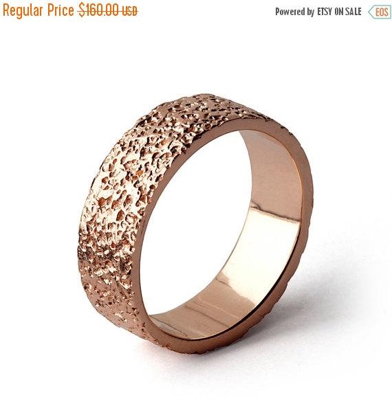 Black Friday Stardust Rose Gold Wedding Band Alternative Textured Mens Ring
