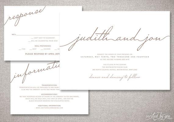 Modern Script Judith Wedding Invitations Suite Rustic Handwritten Calligraphy Clean Custom Diy Digital Printable Or Printed Invitation