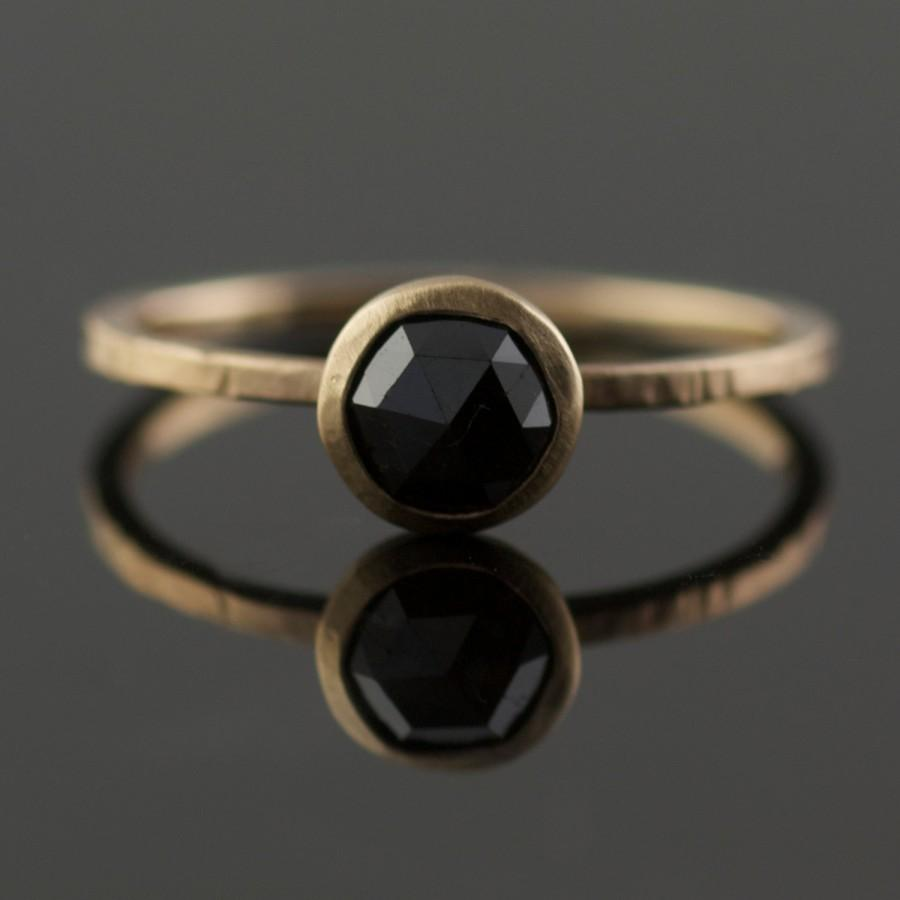 Black Rose Cut Diamond Engagement Ring In Recycled 14k Yellow Gold Eco Modern Bride Handmade Portland