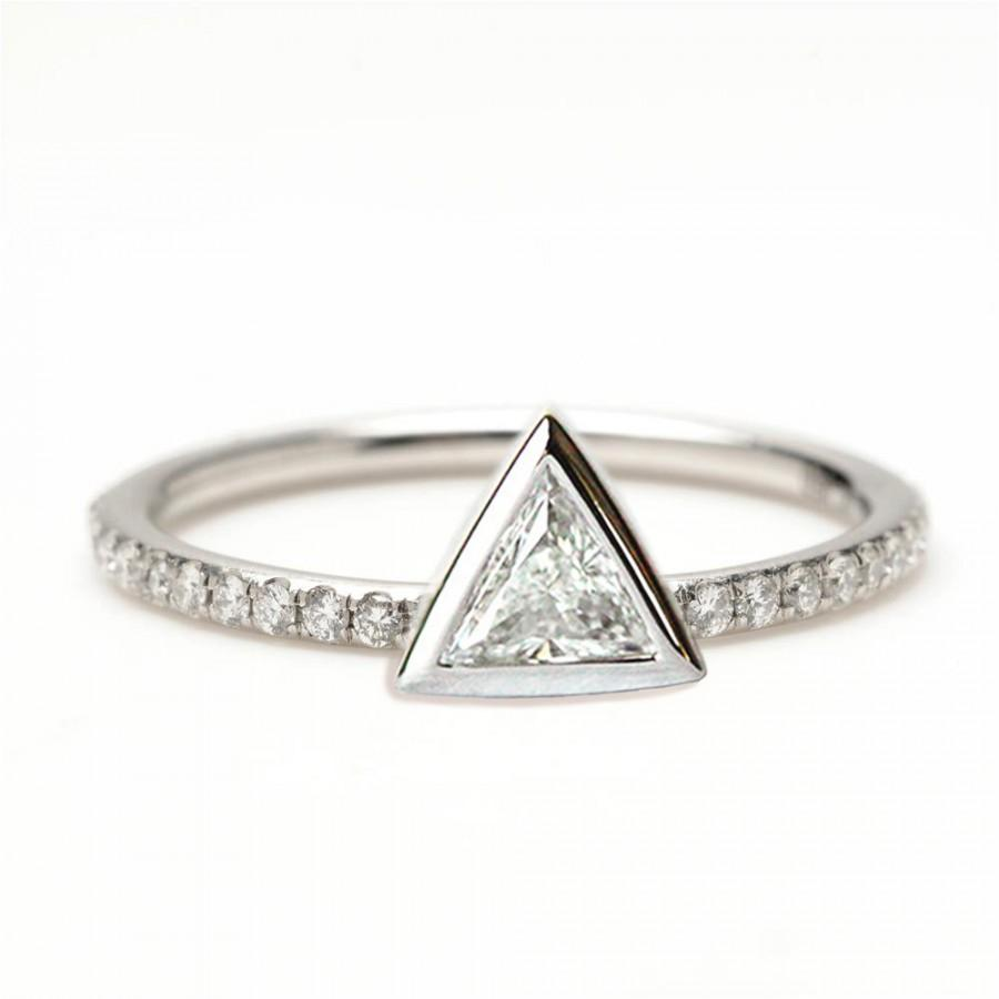 0 2 Carat Trillion Diamond Ring Triangle With Pave Diamonds 18k Solid Gold Engagement