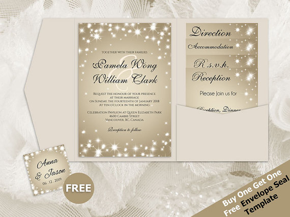 Diy Printable Wedding Pocket Fold Invitation Set A7 5 X 7