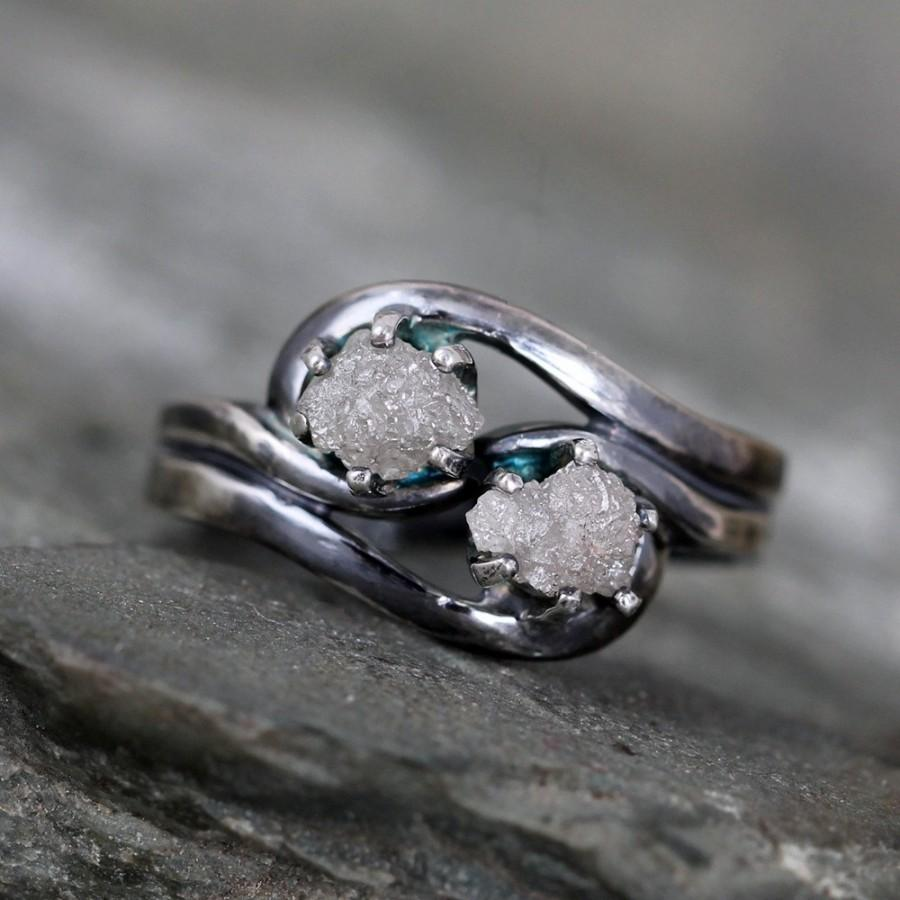 Two Stone Raw Diamond Ring 1 Carat Engagement Rings Uncut Rough Gemstone April Birthstone Always And Forever