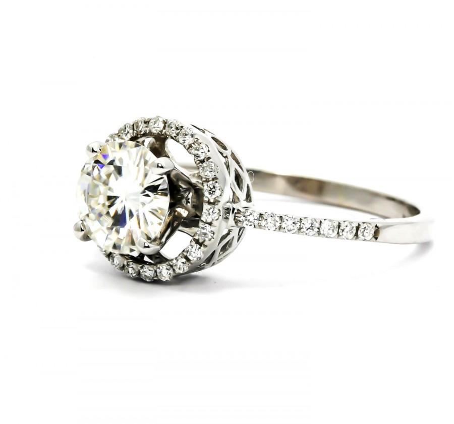 Moissanite Engagement Ring Unique Floating Halo With 1 Carat Forever Brilliant 20 Diamonds Anniversary