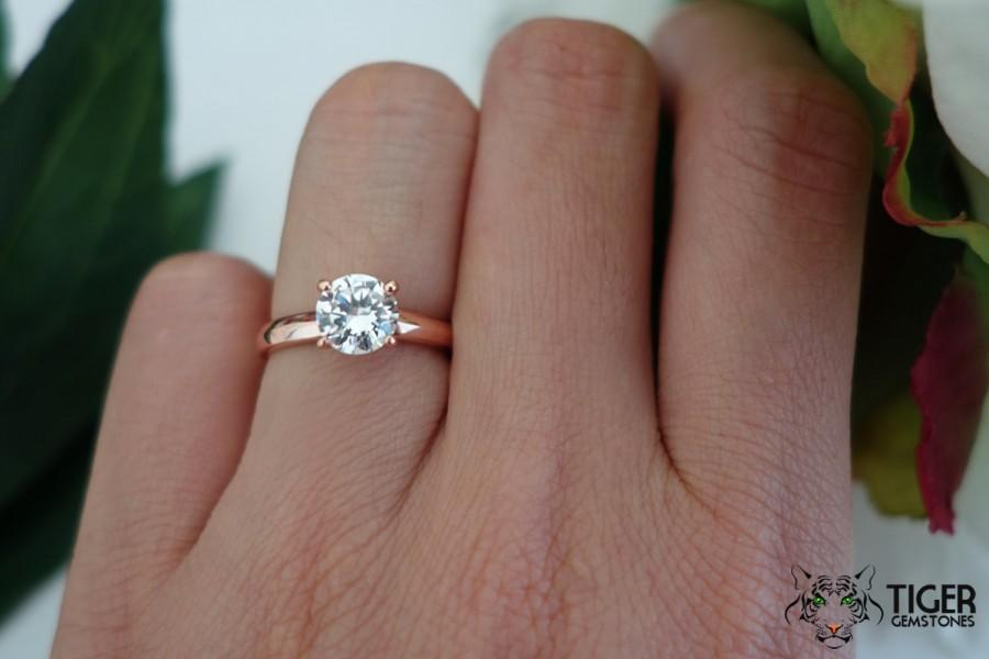 1 Carat Solitaire Ring Low Profile Rose Engagement Man Made Diamond Simulant Wedding Bridal Sterling Silver Gold